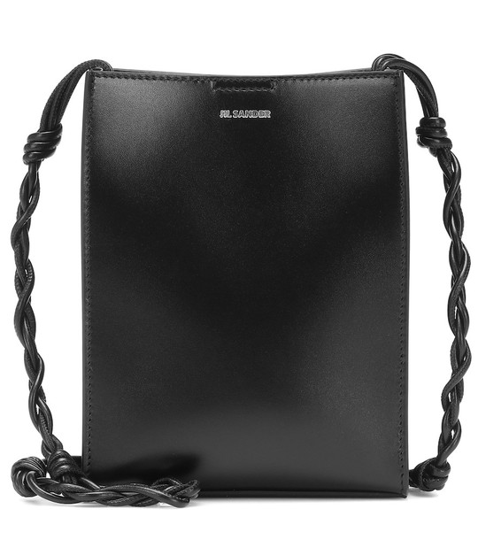 Jil Sander Tangle Small leather shoulder bag in black