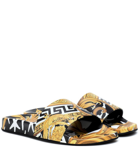Versace Printed slides in yellow