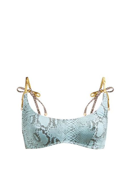 Stella Mccartney - Timeless Snakeskin Print Scoop Neck Bikini Top - Womens - Blue Multi