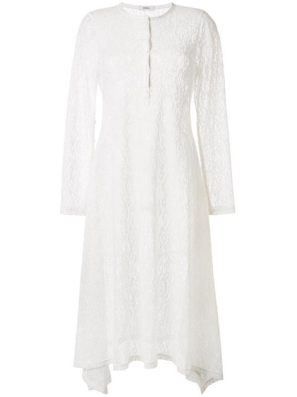 Goen.J crochet lace midi dress in white