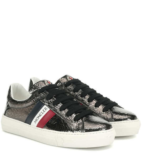 Moncler Ariel cracked patent leather sneakers in grey