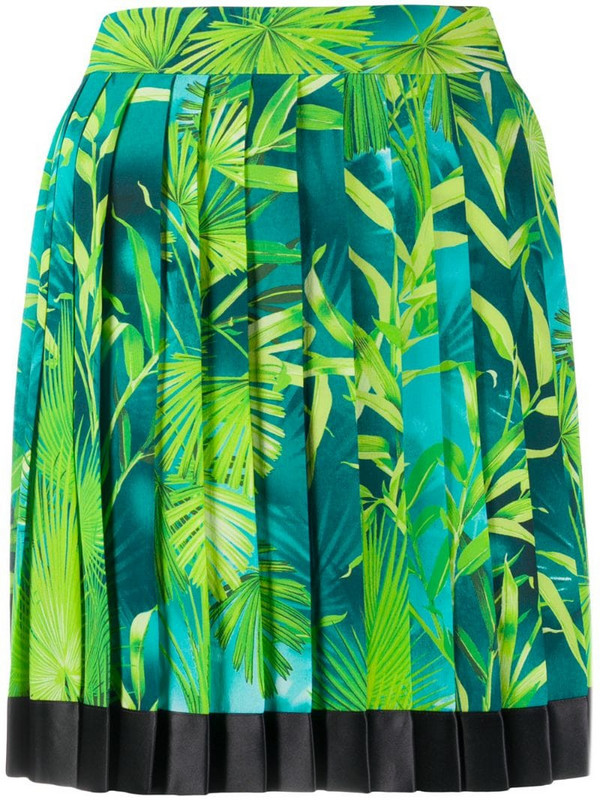 Versace Jungle pleated skirt in blue