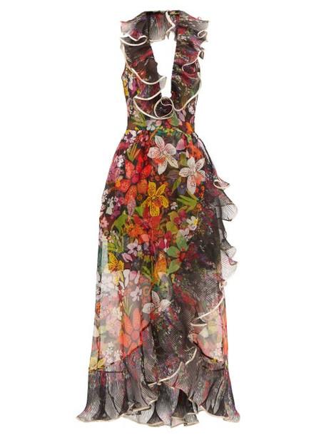 Dundas - Ruffled Floral Silk-organza Dress - Womens - Black Multi