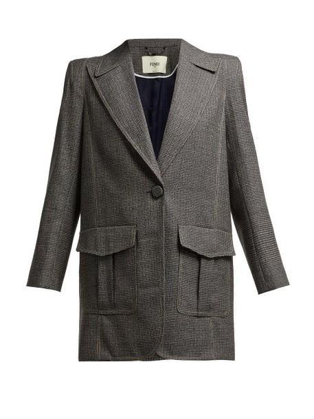 Fendi - Houndstooth Virgin Wool Blend Blazer - Womens - Grey Multi