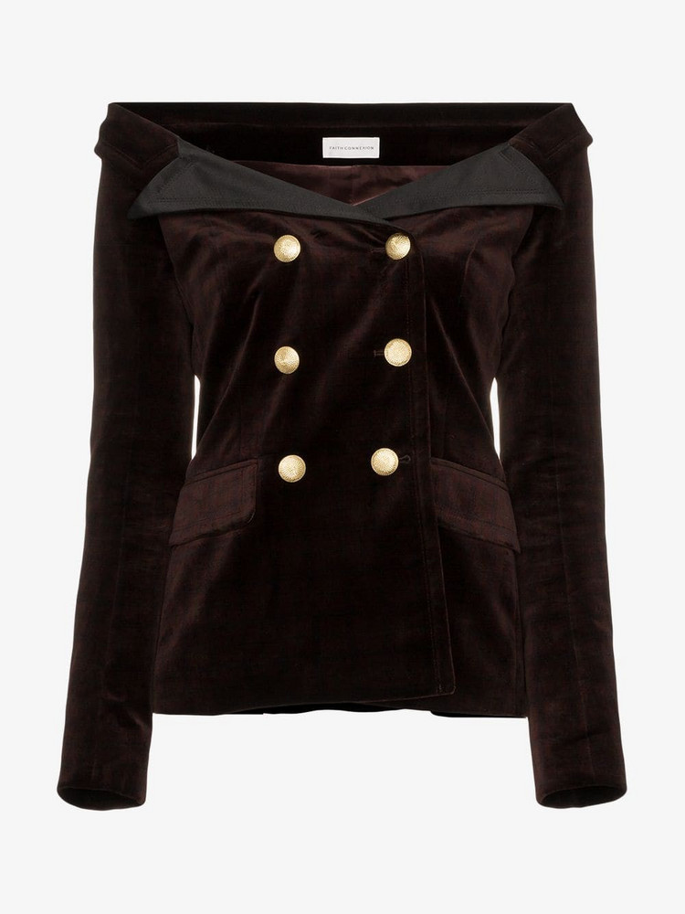 Faith Connexion velvet double breasted jacket in brown