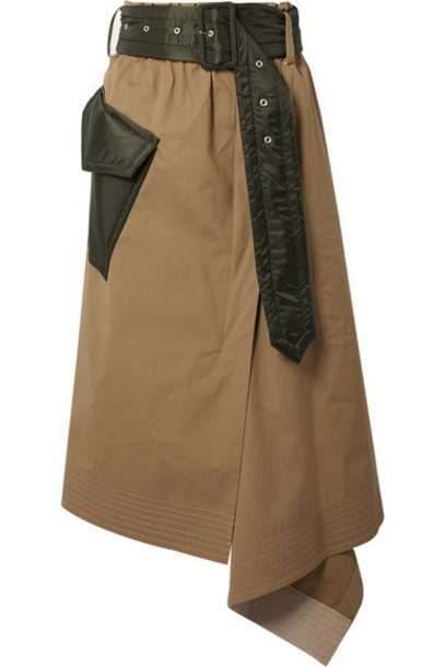 Sacai - Belted Draped Shell-trimmed Cotton-canvas Midi Skirt - Beige