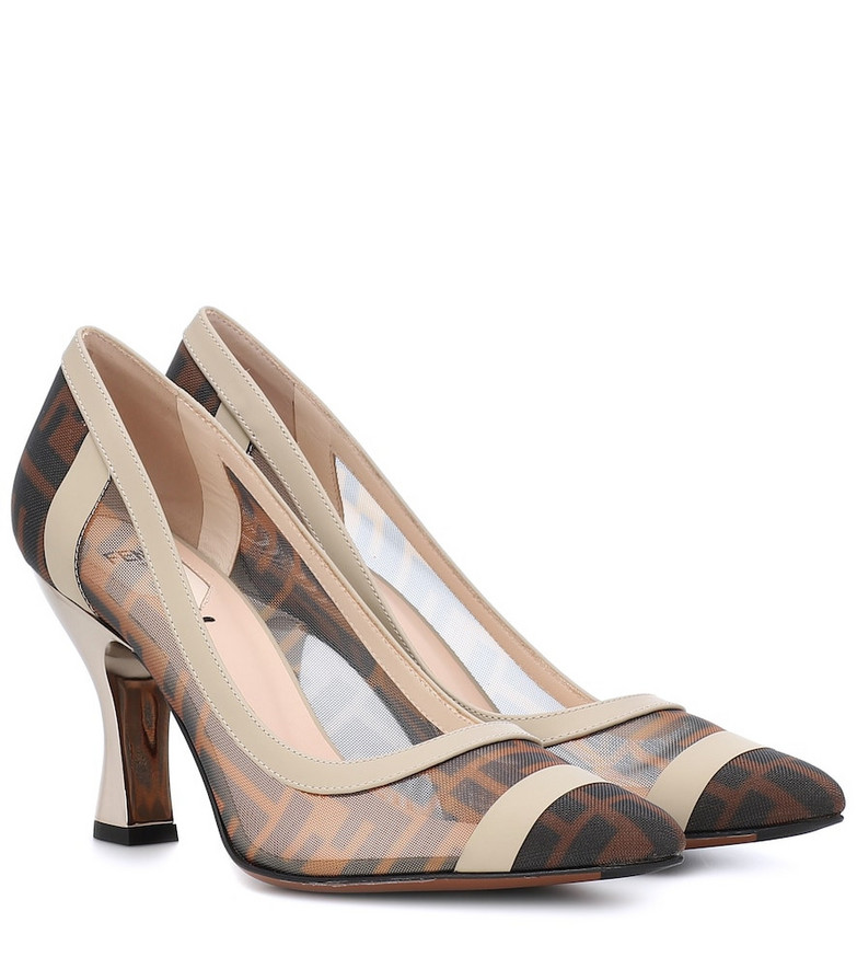 Fendi Leather-trimmed mesh pumps in brown