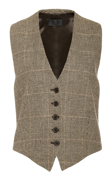 NILI LOTAN Angelina Prince of Wales Check Wool-Blend Vest Size: 6 in brown