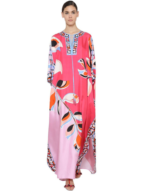 EMILIO PUCCI Printed Silk Twill Caftan Dress in pink / multi