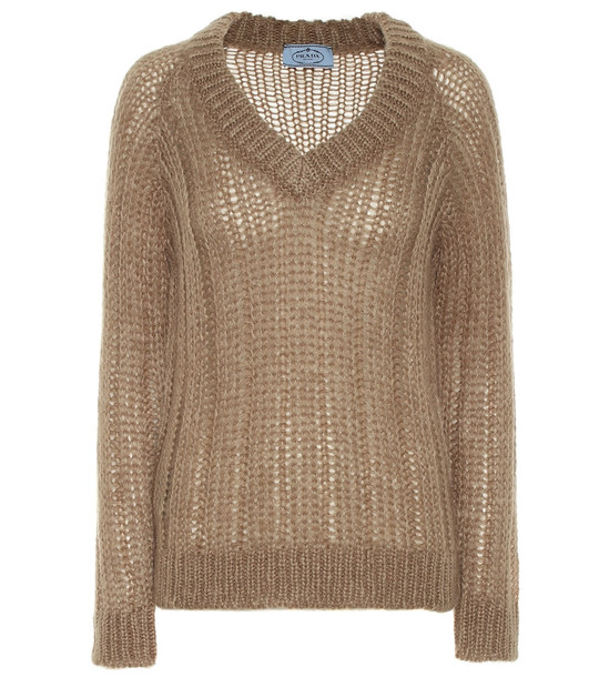 Prada Mohair and wool-blend sweater in brown