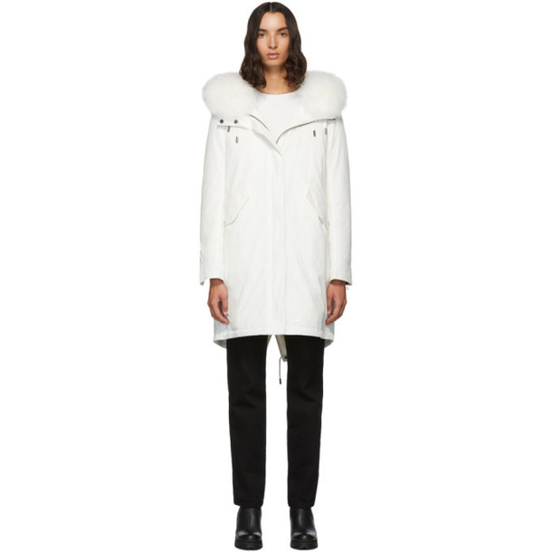 Yves Salomon - Army White Down and Fur Bachette Coat