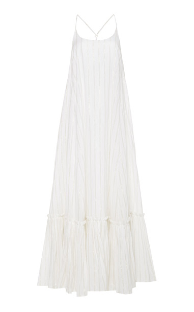 Bird & Knoll Karolina Cotton-Blend Maxi Dress in white