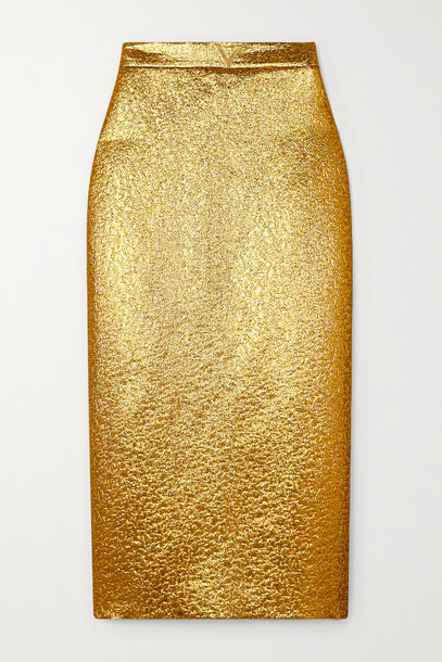 VALENTINO - Embellished Lamé Midi Skirt - Gold