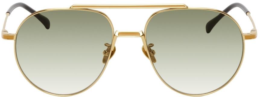 PROJEKT PRODUKT Gold Titanium Aviator Sunglasses in cream