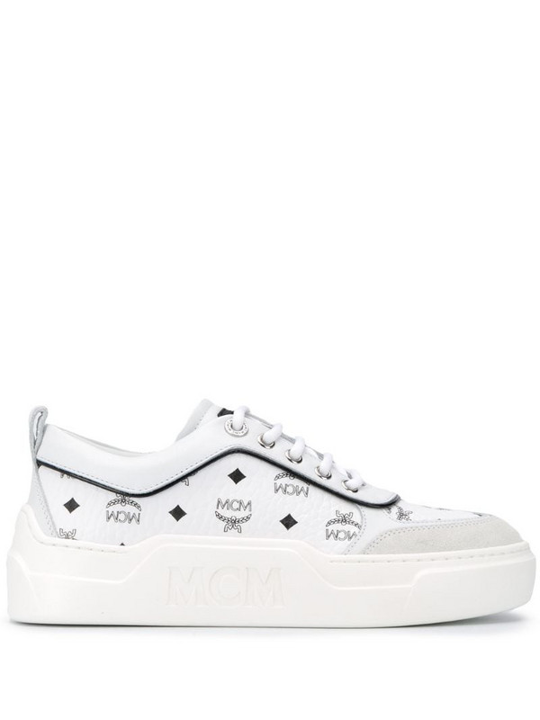 MCM logo-print leather sneakers in white