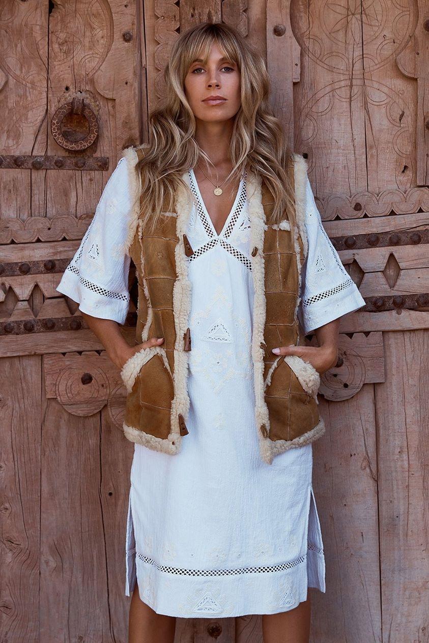 Lauren Kaftan Dress in Dove