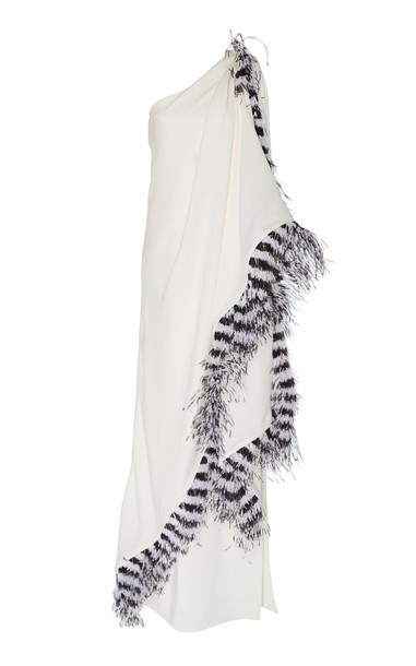 Prabal Gurung Ankara Feather-Trimmed One-Shoulder Silk Gown in white