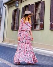 dress,pink dress,one shoulder,floral dress,h&m,hat
