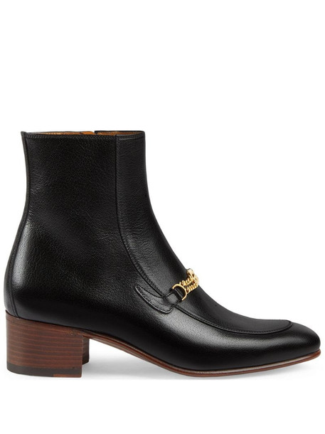 Gucci 45mm interlocking G chain ankle boots in black