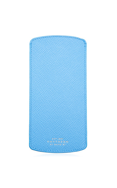 Smythson Panama Leather Sunglasses Case in blue
