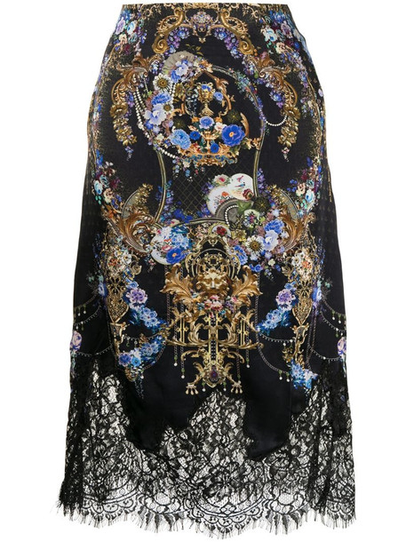 Camilla lace-trimmed floral-baroque print silk skirt in black