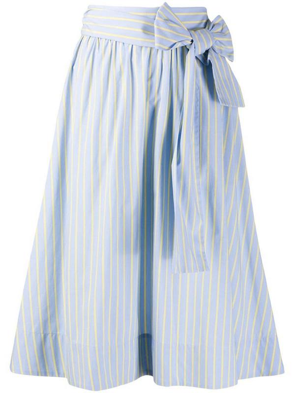 Steffen Schraut pinstripe midi skirt in blue
