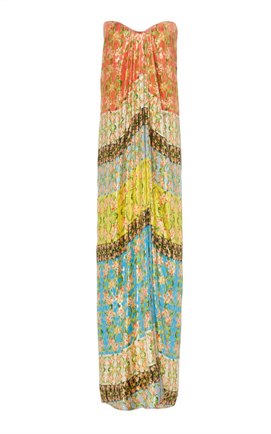 Monique Lhuillier Printed Strapless Silk-Blend Lame Gown Size: 0 in multi