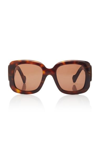 Balenciaga Paris Logo Square-Frame Acetate Sunglasses in brown