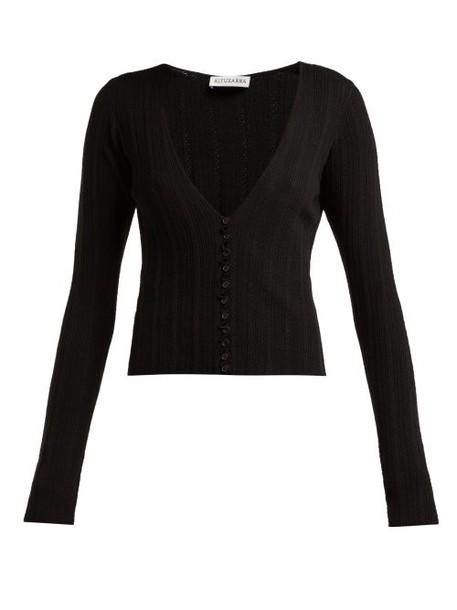 Altuzarra - Piazza Wool Blend Pointelle Cardigan - Womens - Black