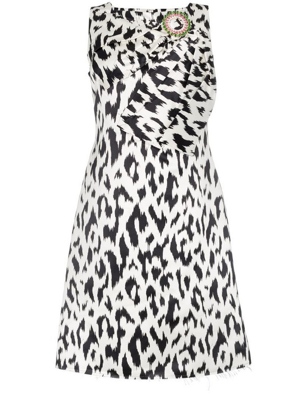 Calvin Klein 205W39nyc Cheetah print brooch embellished sleeveless midi dress in black