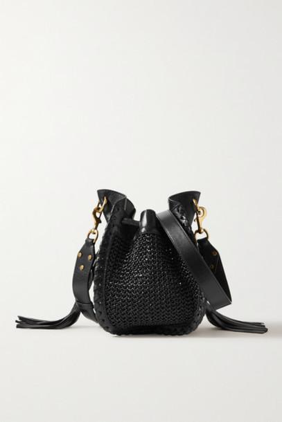 Isabel Marant - Radja Whipstitched Leather-trimmed Raffia Bucket Bag - Black