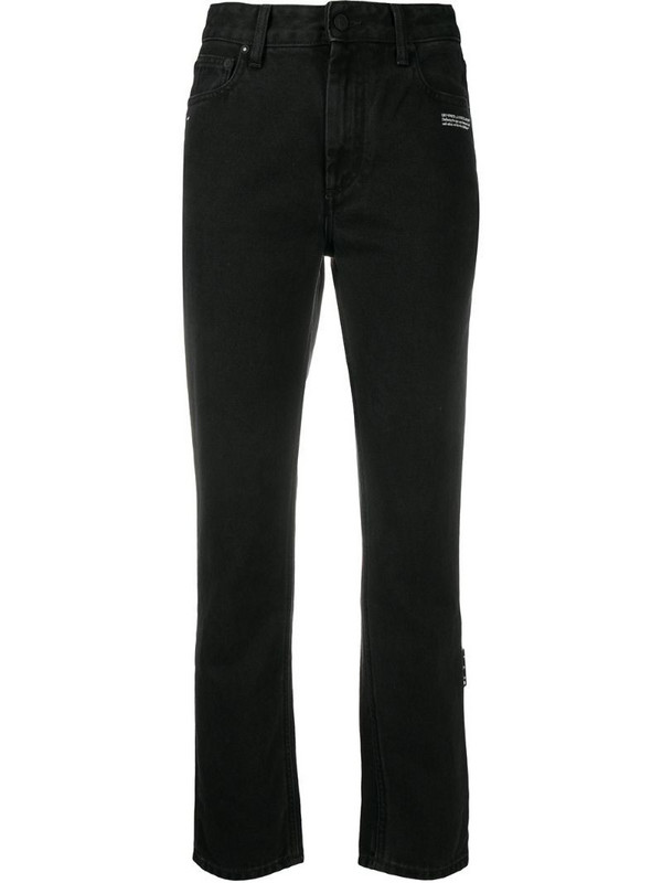 Off-White logo-embroidered straight-leg jeans in black