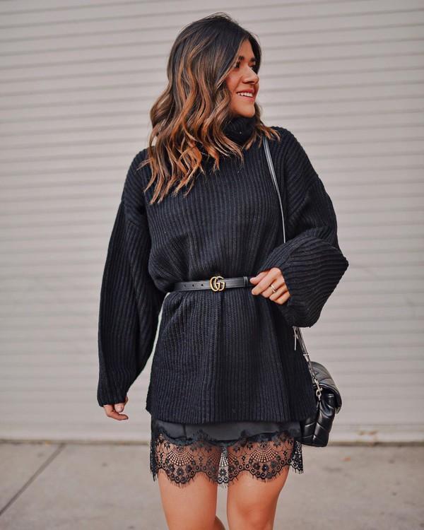 skirt black skirt lace skirt black sweater turtleneck sweater gucci belt black bag