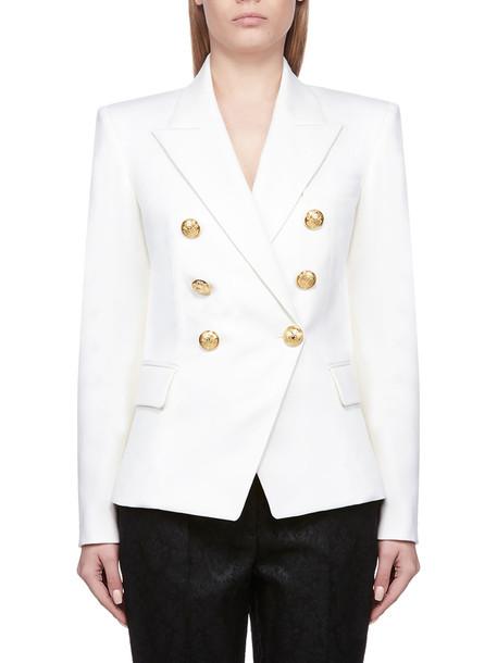 Balmain Button-embellished Blazer in bianco