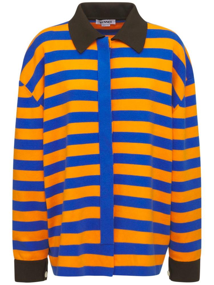 SUNNEI Striped Cotton Jersey Shirt in blue / orange