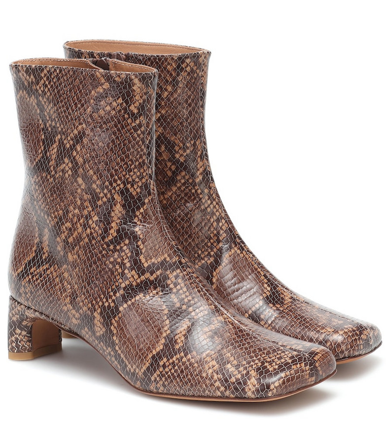 LOQ Monica snake-print leather boots in brown