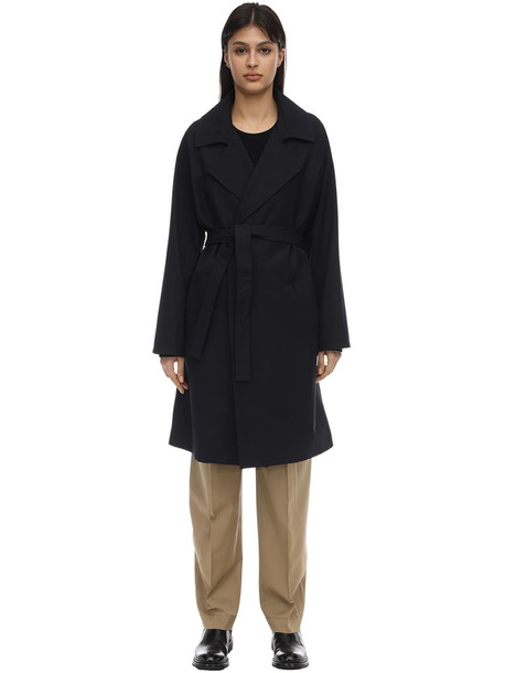 A.P.C. Virgin Wool Blend Canvas Trench Coat in navy