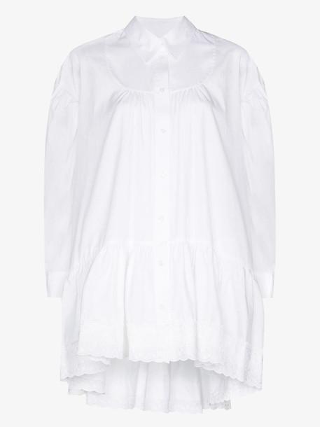 Simone Rocha gathered cotton poplin shirt in white
