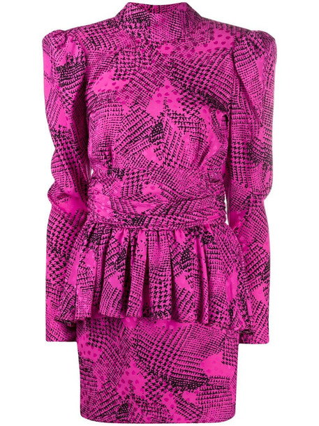 Alessandra Rich peplum abstract print dress in pink