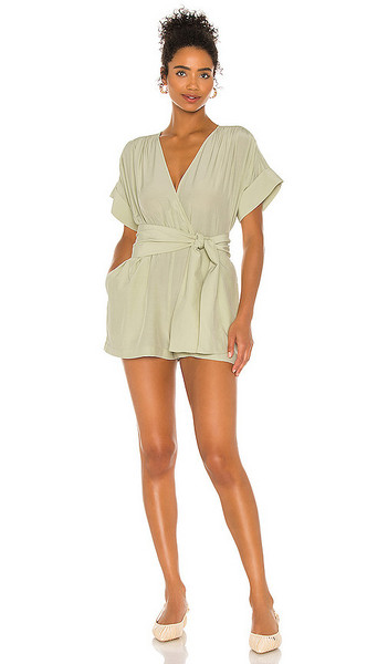 L'Academie The Leah Romper in Sage in green