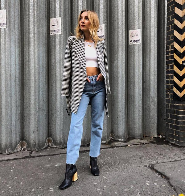 jacket blazer houndstooth black boots heel boots cropped jeans straight jeans high waisted jeans white crop tops topshop