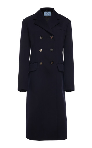 Prada Double Breasted Wool Overcoat in navy