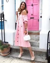 dress,pink dress,midi dress,off the shoulder dress,white sandals,white bag