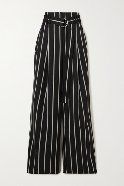 Proenza Schouler - Belted Striped Wool-twill Wide-leg Pants - Black
