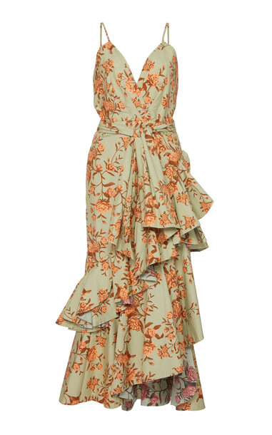 Johanna Ortiz Rhapsodie Oriental Floral Cotton-Poplin Dress Size: 6