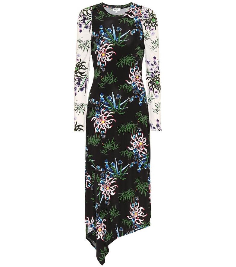 Kenzo Floral stretch-knit midi dress in black