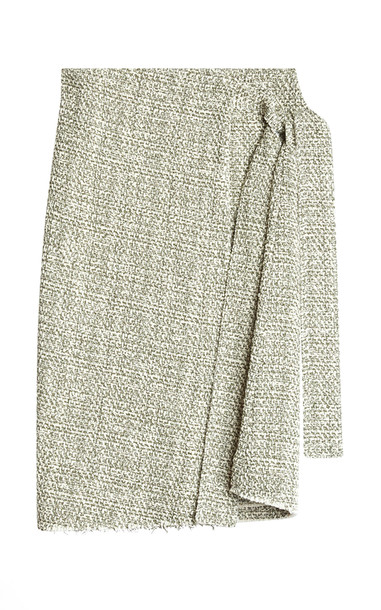 Rodebjer Alla Mélange Tweed Midi Wrap Skirt in green