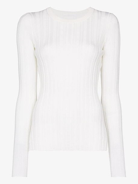 Helmut Lang ribbed merino wool jumper in white