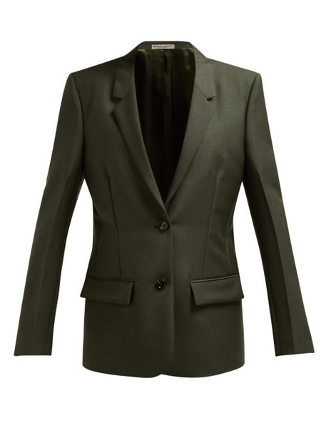 Bottega Veneta - Single Breasted Mohair And Wool Blend Blazer - Womens - Dark Green