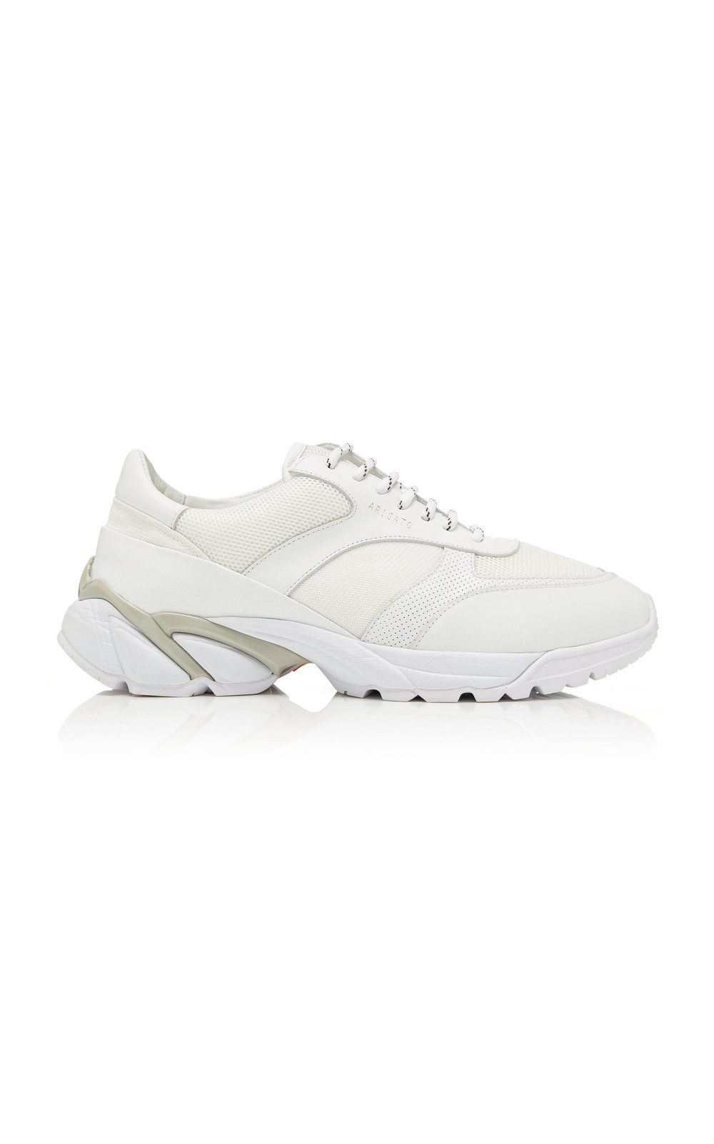 Axel Arigato Tech Runner Core Leather-Trimmed Mesh Sneakers in white